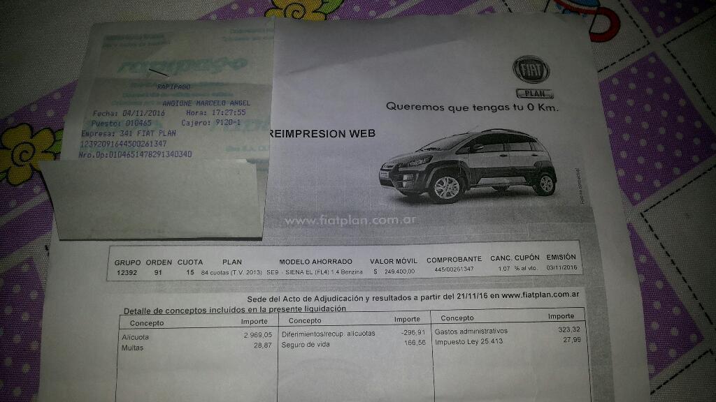 Permuto Plan Fiat por Moto