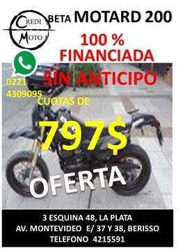 BETA MOTARD 200, USADA, 797$, FINANCIADA AL 100 SIN ANTICIPO